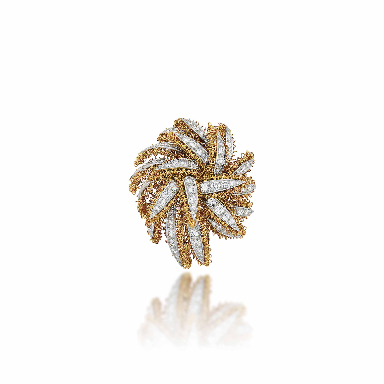 A DIAMOND-SET CLIP BROOCH, BY