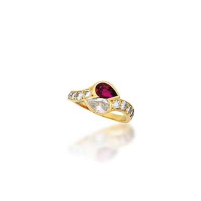 A RUBY AND DIAMOND RING,  BY V