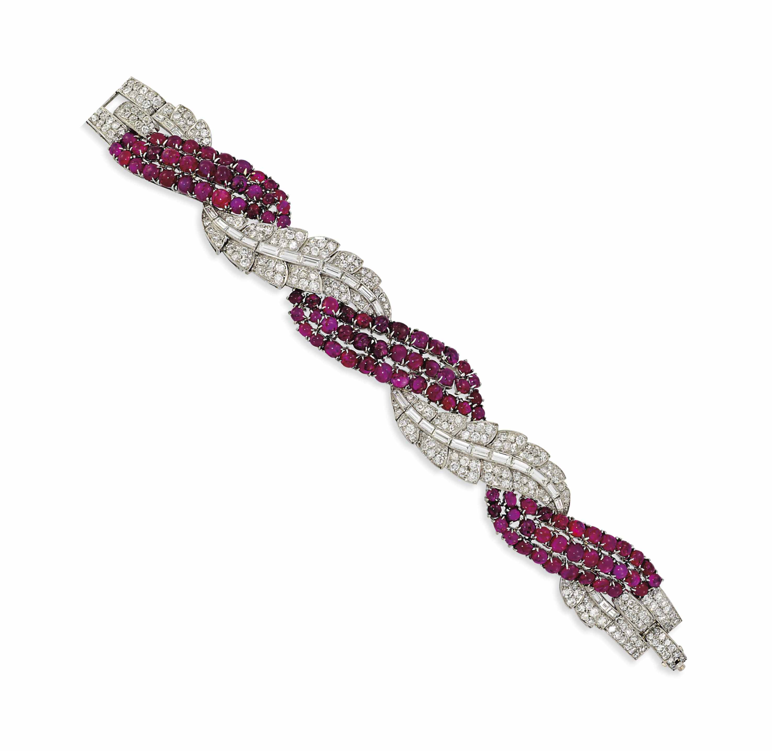 A RUBY AND DIAMOND BRACELET, B