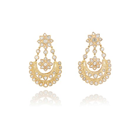 A PAIR OF INDIAN DIAMOND EAR P