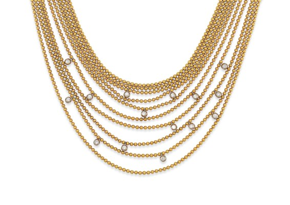 A DIAMOND-SET 'DRAPERIE' NECKL