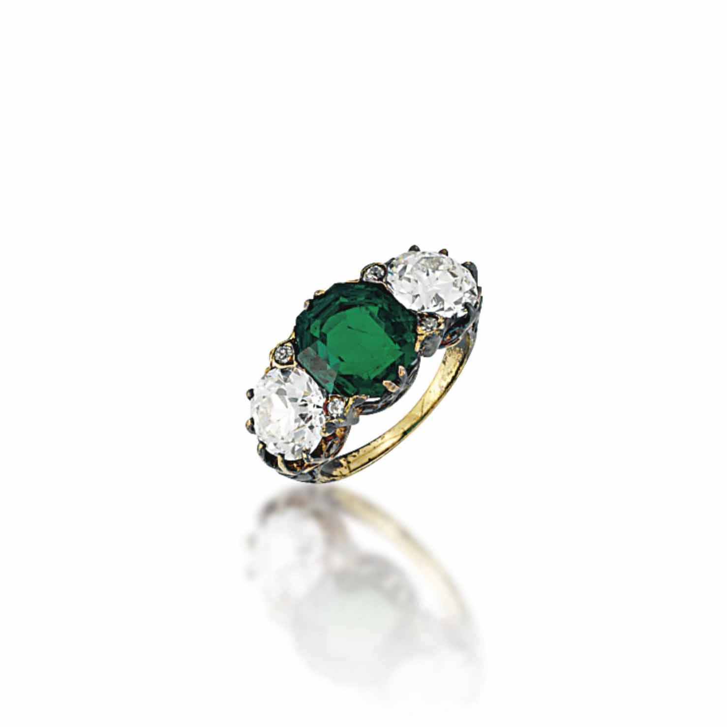 A VICTORIAN EMERALD AND DIAMON