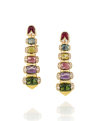 A PAIR OF MULTI-GEM AND DIAMON