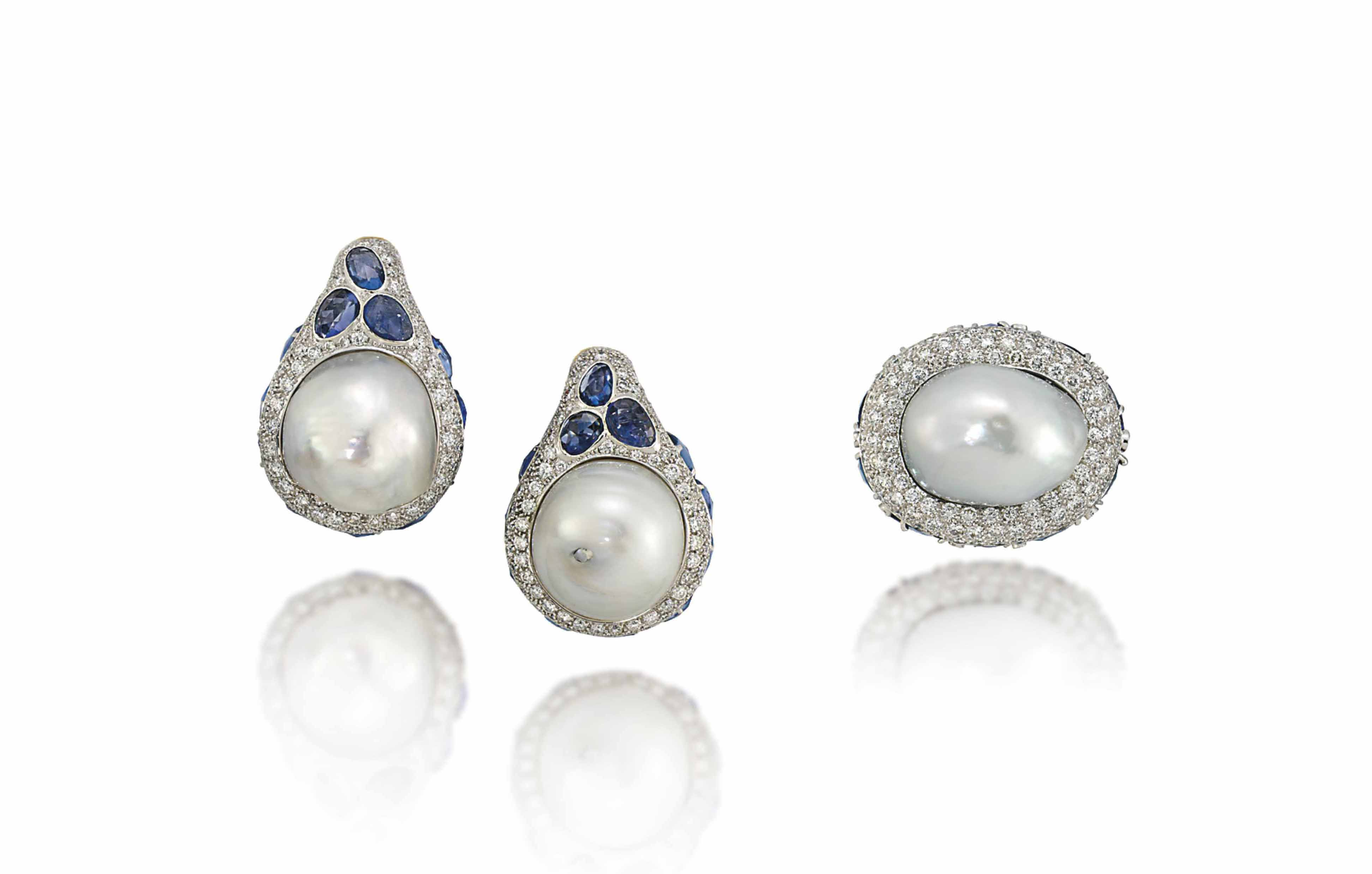 A CULTURED PEARL SAPPHIRE AND