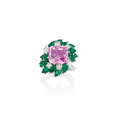 A PINK SAPPHIRE, EMERALD AND D