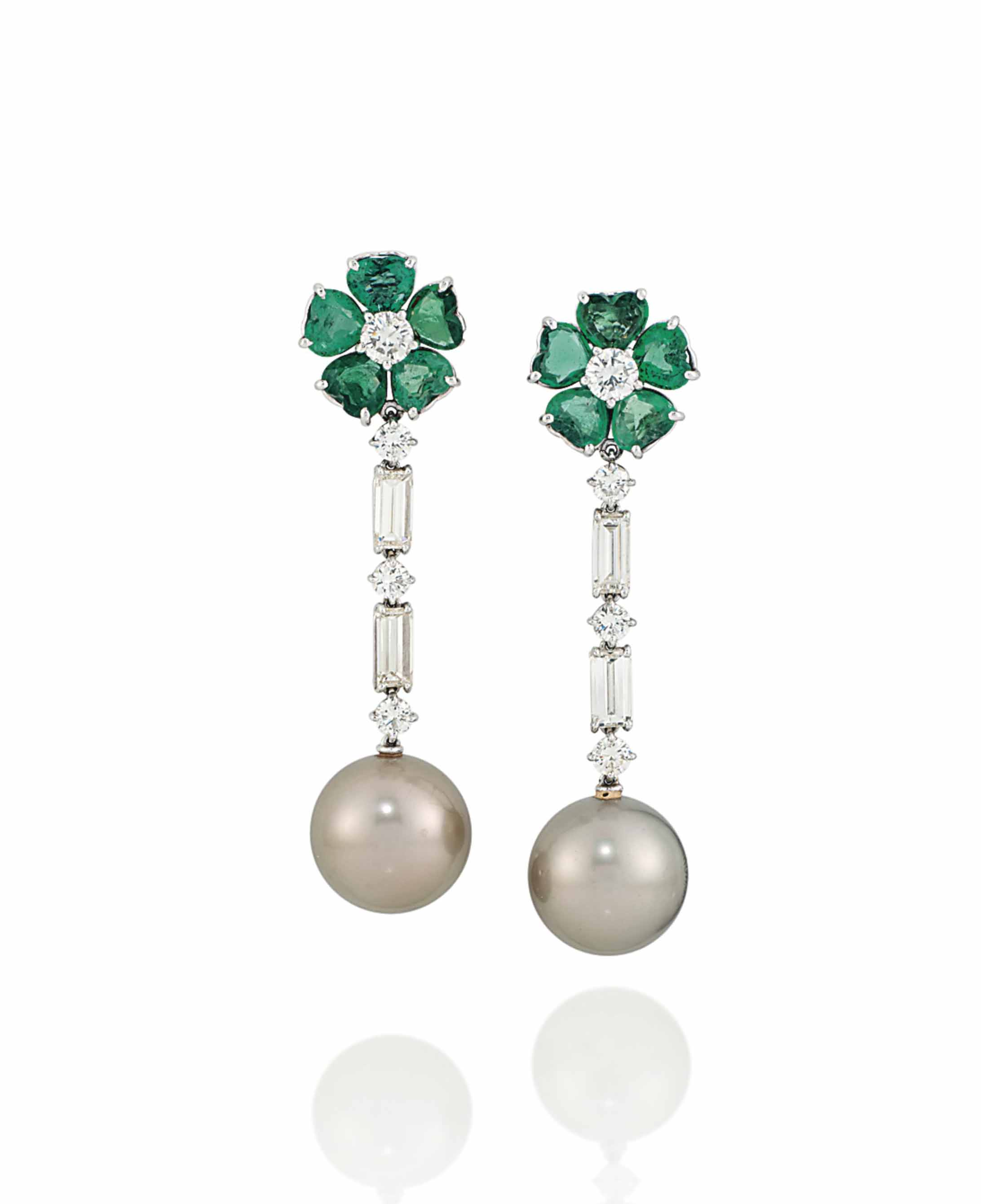 A PAIR OF EMERALD, CULTURED PE