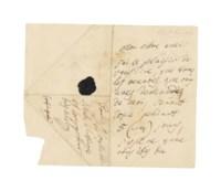 BEETHOVEN, Ludwig van (1770-1827).  Autograph letter signed ('Beethoven') to [the pianist and composer Charles] Neate, n.p., n.d. [Vienna, shortly before 6 February 1816], in idiosyncratic French, 'j'ai le plaisir de vous dire, que tous les oeuvres, que vous aves demandès de moi, seront copie pendant 5 (cinq) jours, j'espère que vous êtes bien content de la bonne volontè / de votre vrai ami / Beethoven', 2 pages, small 4to (192 x 115mm), pencil annotation, integral address leaf, 'Pour Monsieur Neate, Virtuose, Compositeur très celebre' (remnant of seal in black wax, seal tears), tipped onto an album leaf. Provenance: from the autograph collection of Sir Francis Clare Ford (1828-1899).