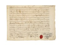 MOZART, Wolfgang Amadeus (1756-1791). Autograph music manuscript, 6 passages for string quartet, reworkings of compositions by Mozart's pupil Thomas Attwood, K.506a, n.d. [second half of 1786],  headed 'Zu ein[em] 4tett', 67 bars in 6 systems of four staves, a further four bars added by Attwood, two pages, oblong folio (230 x 318mm), on a single leaf, annotations on verso 'Adagio', 'Rondo', 'Buono', the recto with notes of authenticity in the hands of Georg Nikolaus Nissen and Julius André, the latter signed and with an impression of his signet seal in red wax (minor wear to right and lower margins), tipped into an album, signed on front endpaper by Yehudi and Hepzibah Menuhin, 1975, brown morocco.