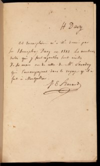 DAVY, Sir Humphry (1778-1829). Elements of Chemical Philosophy. London: J. Johnson and Co., 1812. Signed by the author on the front free endpaper ('H. Davy') and inscribed in autograph on the title 'Mr J.E. Berard / from the Author', THE COPY EXTENSIVELY ANNOTATED AND REVISED IN THE HAND OF MICHAEL FARADAY, evidently under Davy's dictation, apparently in preparation for a second edition,  comprising a new introductory 'Advertisement', 6½ pages, dated Paris, 31 October [1813], and cancellations, emendations and additions to approx. 75 pages, including 9 full added pages tipped or pasted in, and a further 15 smaller pasted slips (the presentation inscription cropped by the binder). 20th-century morocco-backed boards. Provenance: presented by Davy to the French chemist Jacques-Etienne Bérard (1789-1869), who records the gift below Davy's signature on the front endpaper, 'Cet exemplaire m'a été donné par Sir Humphry Davy en 1813 [in fact in 1814]. Les nombreuses notes qui y sont ajoutées sont écrites de sa main ou de celle de Mr Faraday qui l'accompagnait dans le voyage qu'il a fait à Montpellier'.   A relic of the legendary collaboration between Davy and Faraday. Faraday had become Chemical Assistant to Davy at the Royal Institution on 1 March 1813, and was to accompany Davy and his wife as both personal secretary and valet when they travelled to France in October 1813 to collect a medal awarded to Davy (in spite of the continuing war between France and Britain) by Napoleon; their subsequent tour of France, Italy and Germany, which lasted until 1815, was to include a stay of several months in Montpellier with the young French chemist Jacques-Etienne Bérard, who is several times cited in the annotations to this volume. It is curious that having laboriously completed this programme of emendations, rendering the book apparently ready to be sent to the printers for a second edition, Davy should have immediately given it to Berard (early in 1814). In the event, no second ed