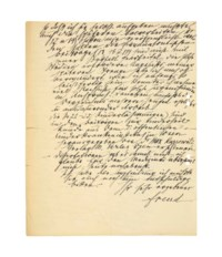 FREUD, Sigmund (1856-1939). Autograph letter signed ('Freud') to Dr [Rudolf] Brun, 9 Berggasse, Vienna, 18 March 1936, two pages, folio (286 x 227mm), (four punch holes to left margin, short tears to horizontal fold, minor browning and wear to right margin); envelope; with a typed letter signed by Anna Freud to Brun, 6 March 1936, written on her father's behalf; also a transcription and another related letter. Provenance: by descent from the recipient.