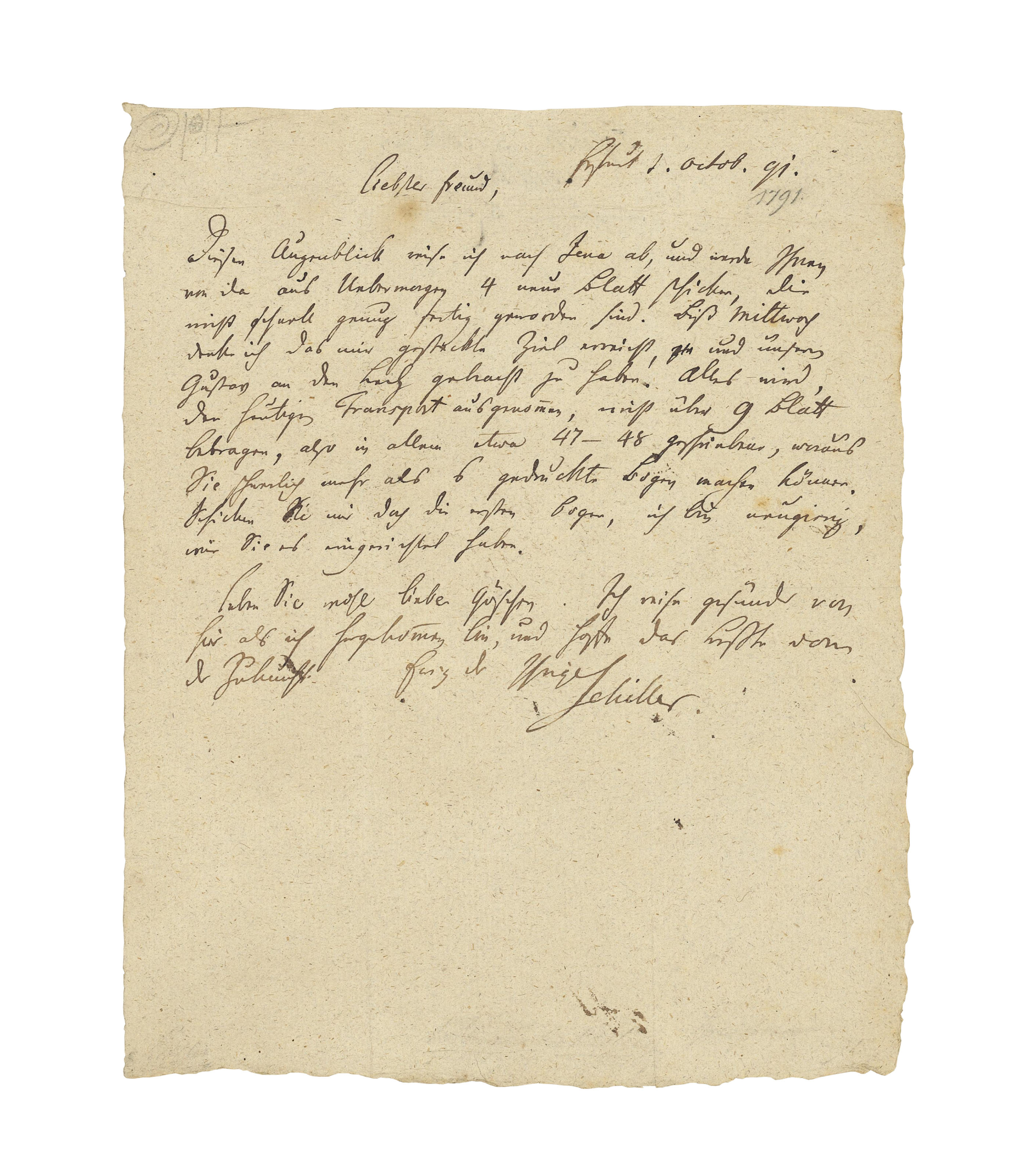 SCHILLER, Friedrich (1759-1805). Autograph letter signed ('Schiller') to [the Leipzig publisher Georg Göschen], Erfurt, 1 October 1791, one page, 4to (252 x 202mm), docket (pencil annotations), with a transcription, tipped onto an album leaf. Provenance: from the autograph collection of Sir Francis Clare Ford (1828-1899).