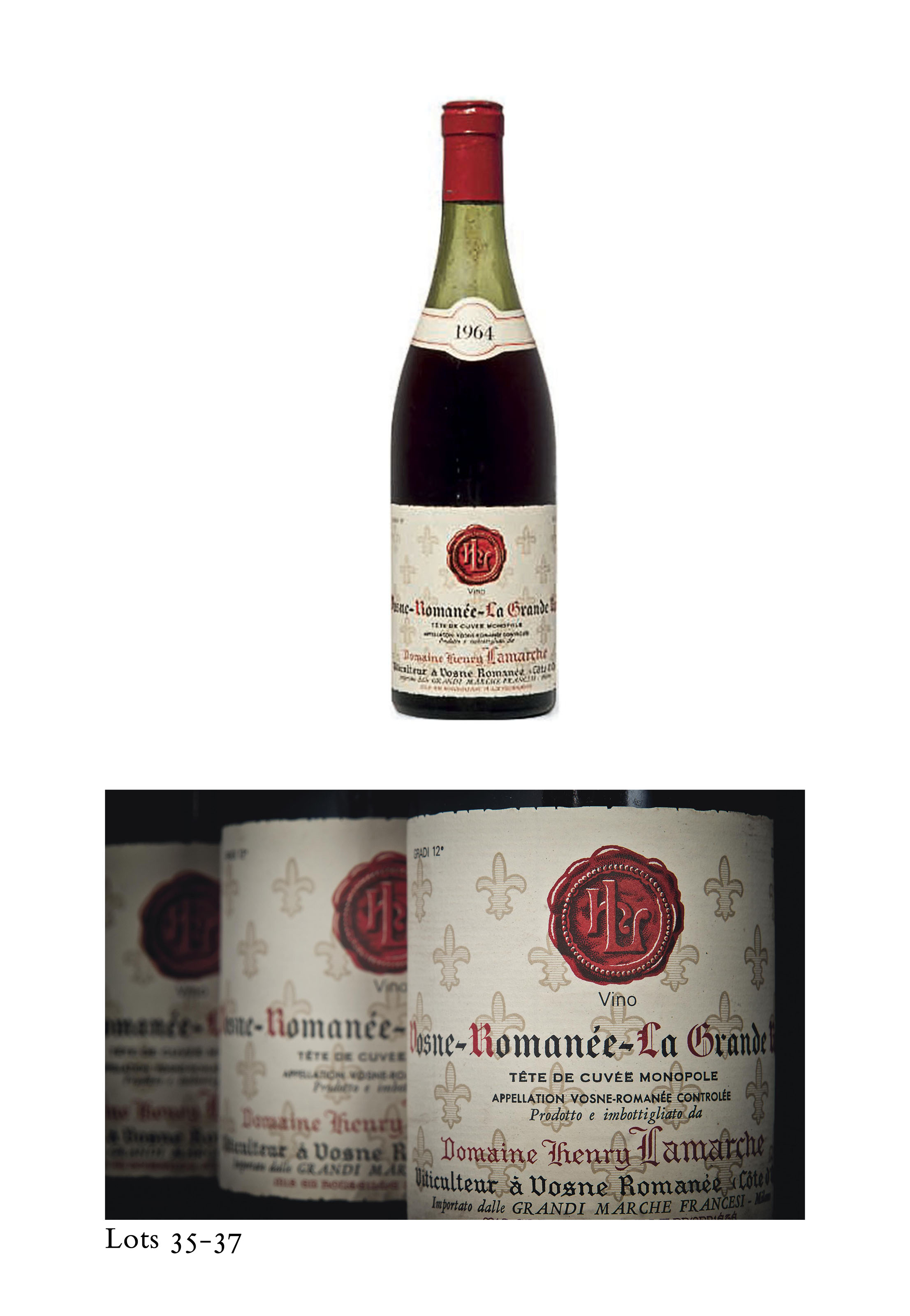 Henri Lamarche Grands-Echézeaux 1962 Corroded capsules with signs of seepage. Slightly bin-soiled labels. Levels: 9-10cms below base of corks  (3)  Armand Rousseau Gevrey-Chambertin Clos Saint-Jacques 1962 Corroded capsules. One stained label. Levels: 9.5cms below base of corks  (2) Henri Lamarche Vosne Romanée La Grande Rue  1964  One corroded capsule with signs of seepage. Good labels. Levels: three at 8cms, two at 9cms below base of corks  (5) Henri Lamarche Pommard-Epénots 1964  Corroded capsules with signs of seepage. Badly bin-soiled and stained labels. Levels: one at 7cms, one at 10cms below base of corks (2)
