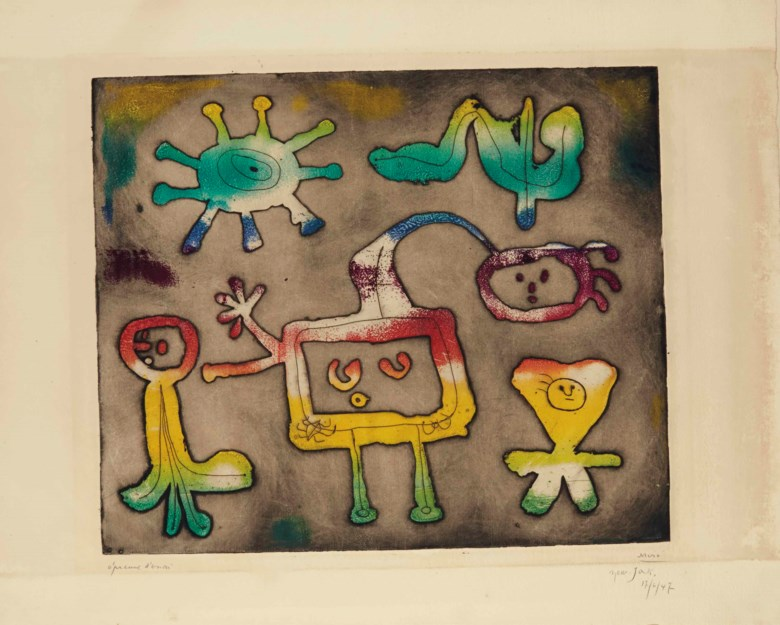 Joan Miró, One plate from Serie I, 1947. Etching printed with monotype colouring, on wove paper. P 378 x 452 mm, S 510 x 660 mm. Sold for £23,750 on 17 September 2014 at Christie's in London. © Successió Miró  ADAGP, Paris and DACS London 2020