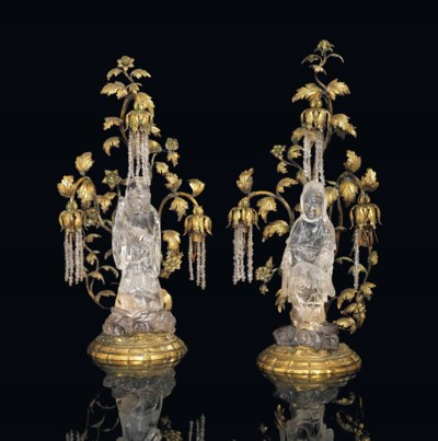 A PAIR OF FRENCH ORMOLU AND RO