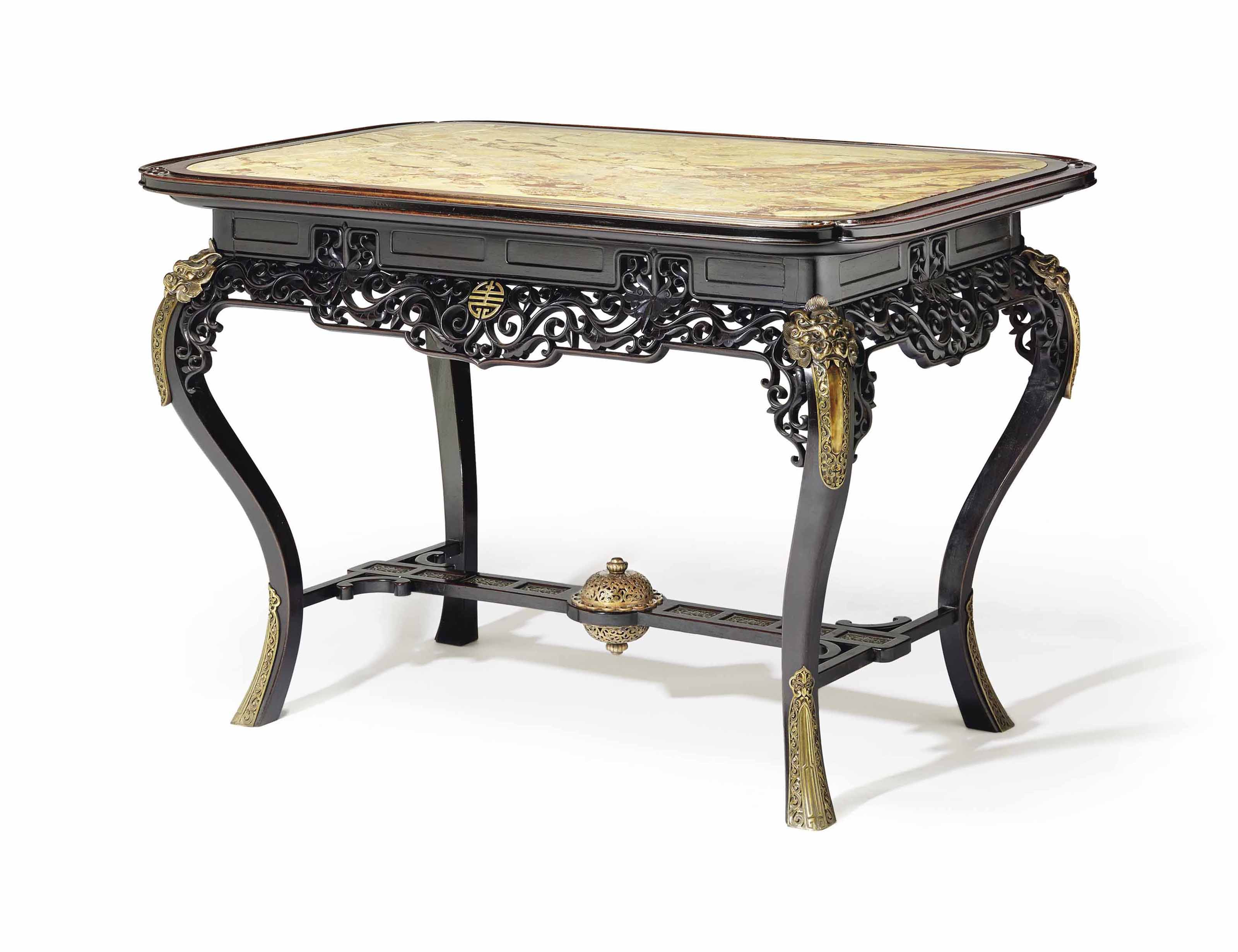 A FRENCH ORMOLU-MOUNTED ROSEWOOD CENTRE TABLE