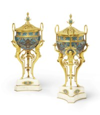A PAIR OF FRENCH ORMOLU, CHAMPLEVE ENAMEL AND MARBLE BRULE PARFUMS