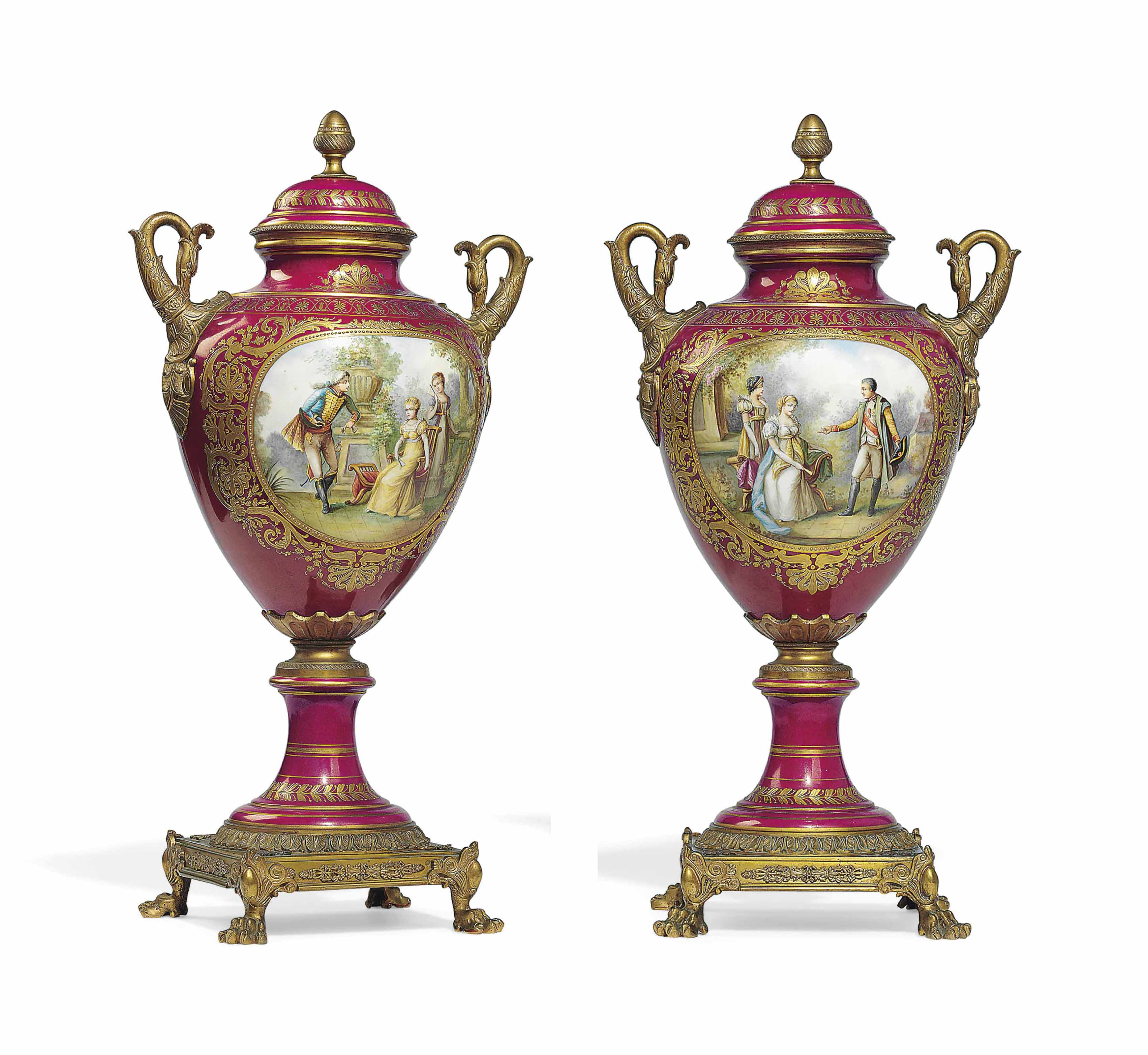 A PAIR OF ORMOLU-MOUNTED SEVRES-STYLE PORCELAIN PINK