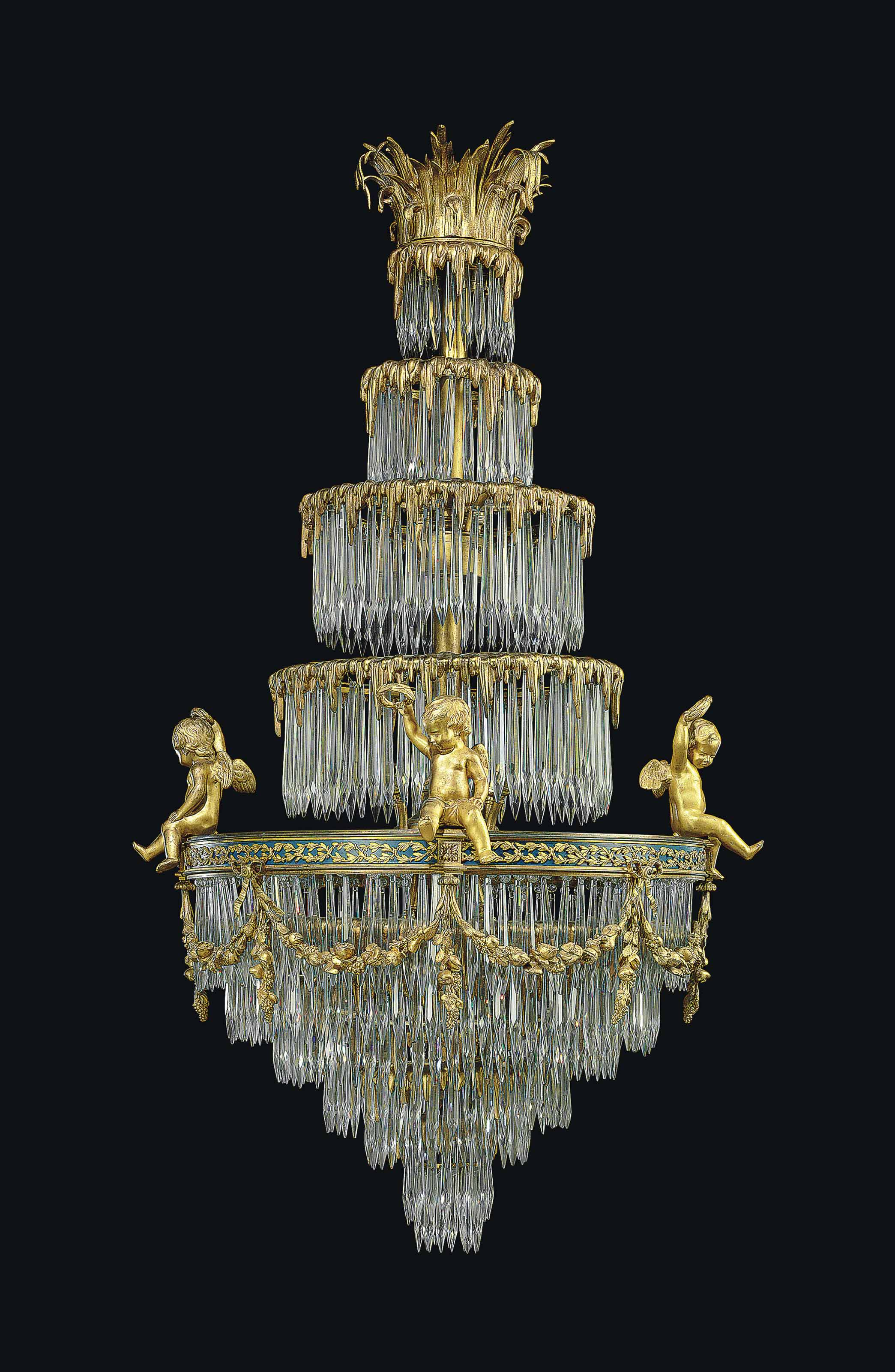 A FRENCH ORMOLU AND CUT-GLASS CHANDELIER