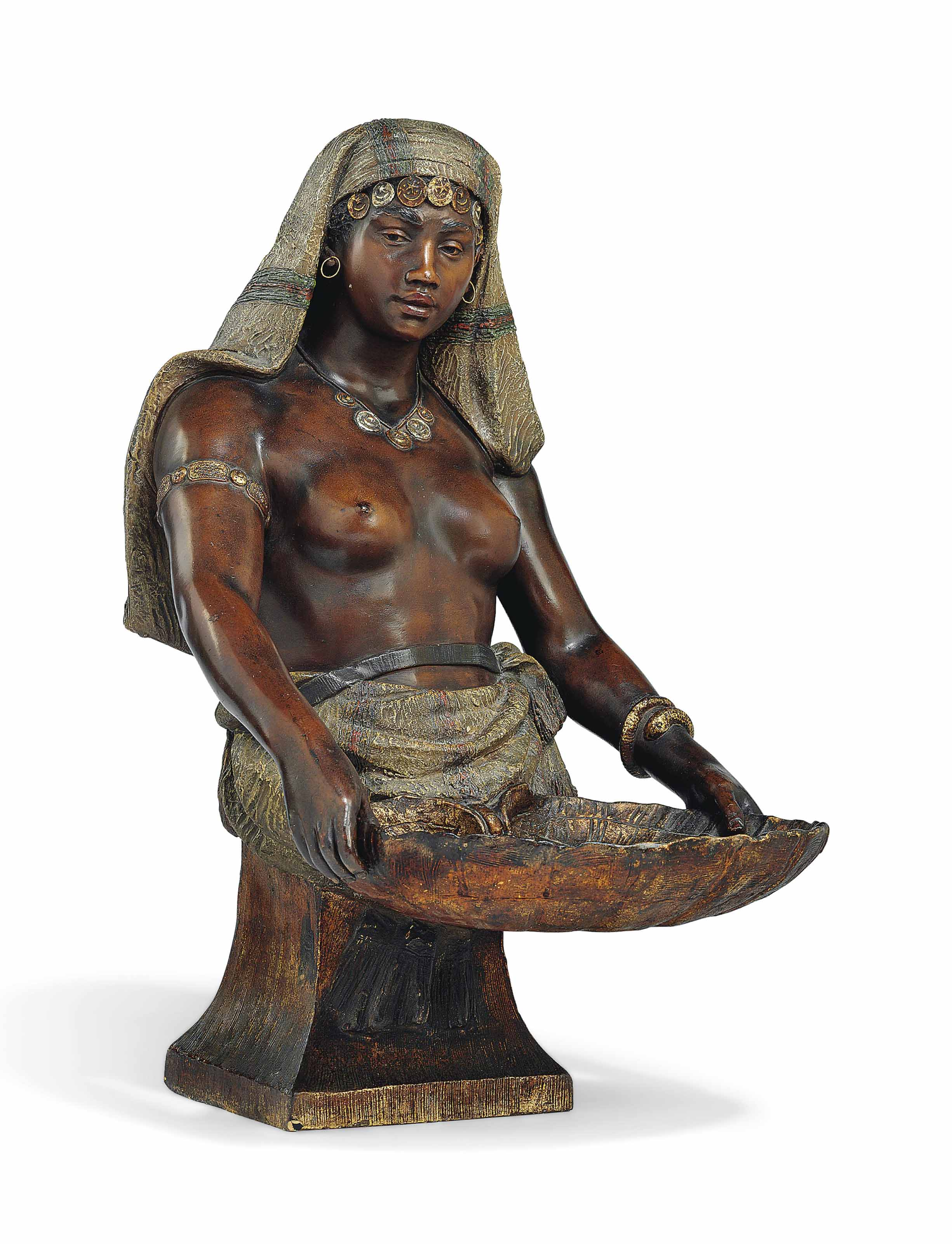 AN AUSTRIAN POLYCHROME-PAINTED TERRACOTTA BUST OF A NUBIAN GIRL HOLDING A SHELL DISH