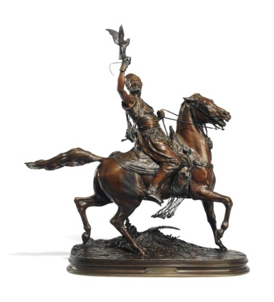 A FRENCH PATINATED-BRONZE EQUE