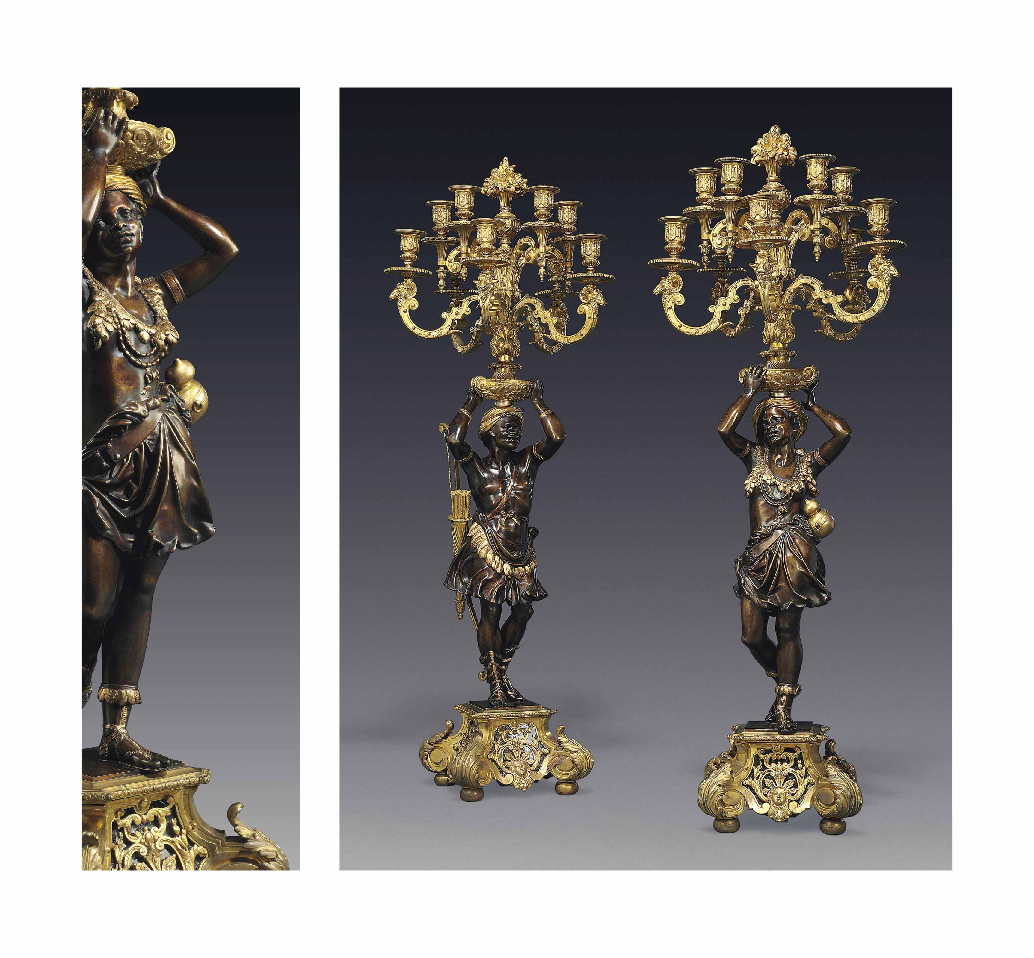 A PAIR OF NAPOLEON III GILT AND PATINATED BRONZE NINE-LIGHT CANDELABRA