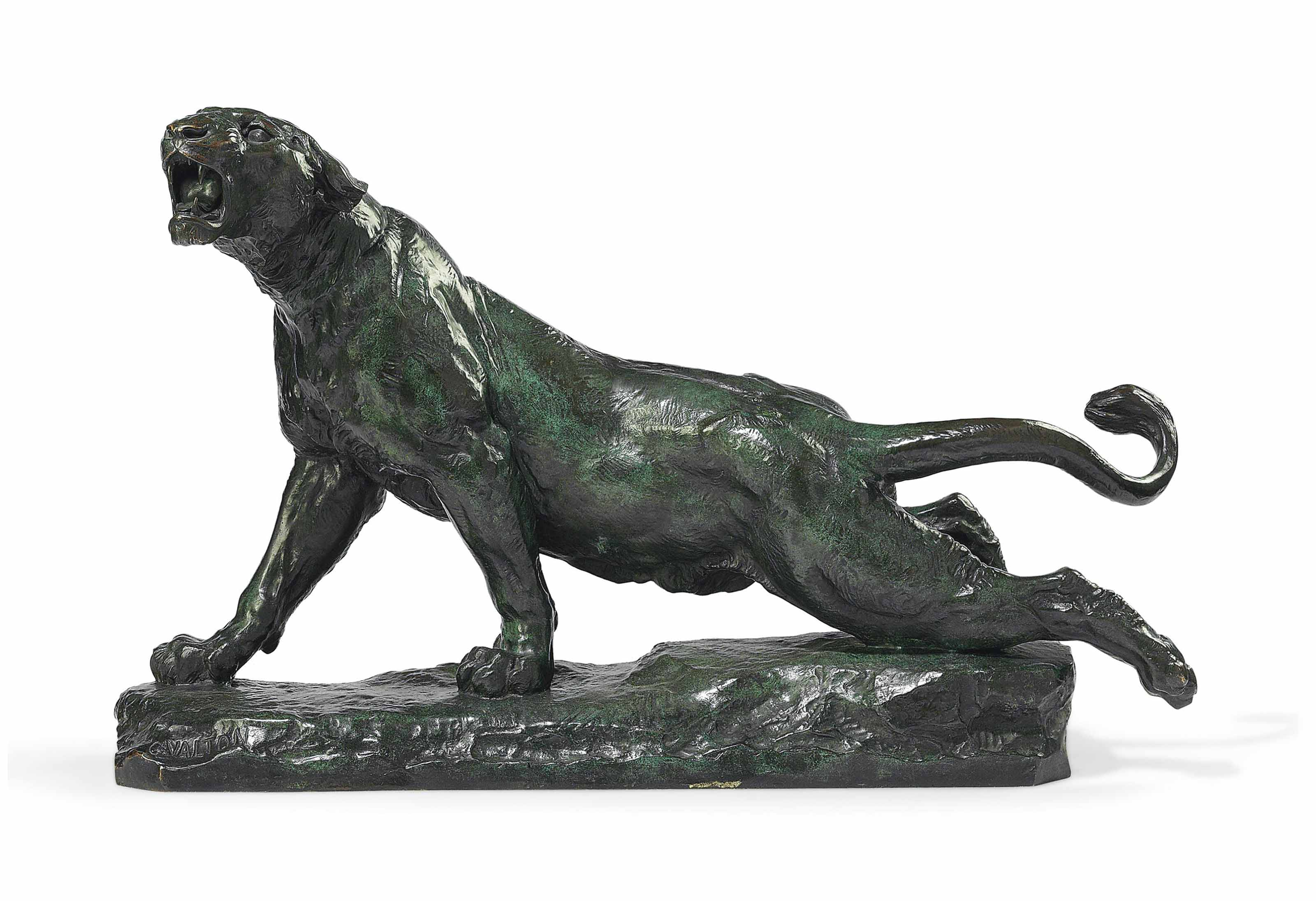 A FRENCH PATINATED-BRONZE FIGURE OF A WOUNDED TIGER