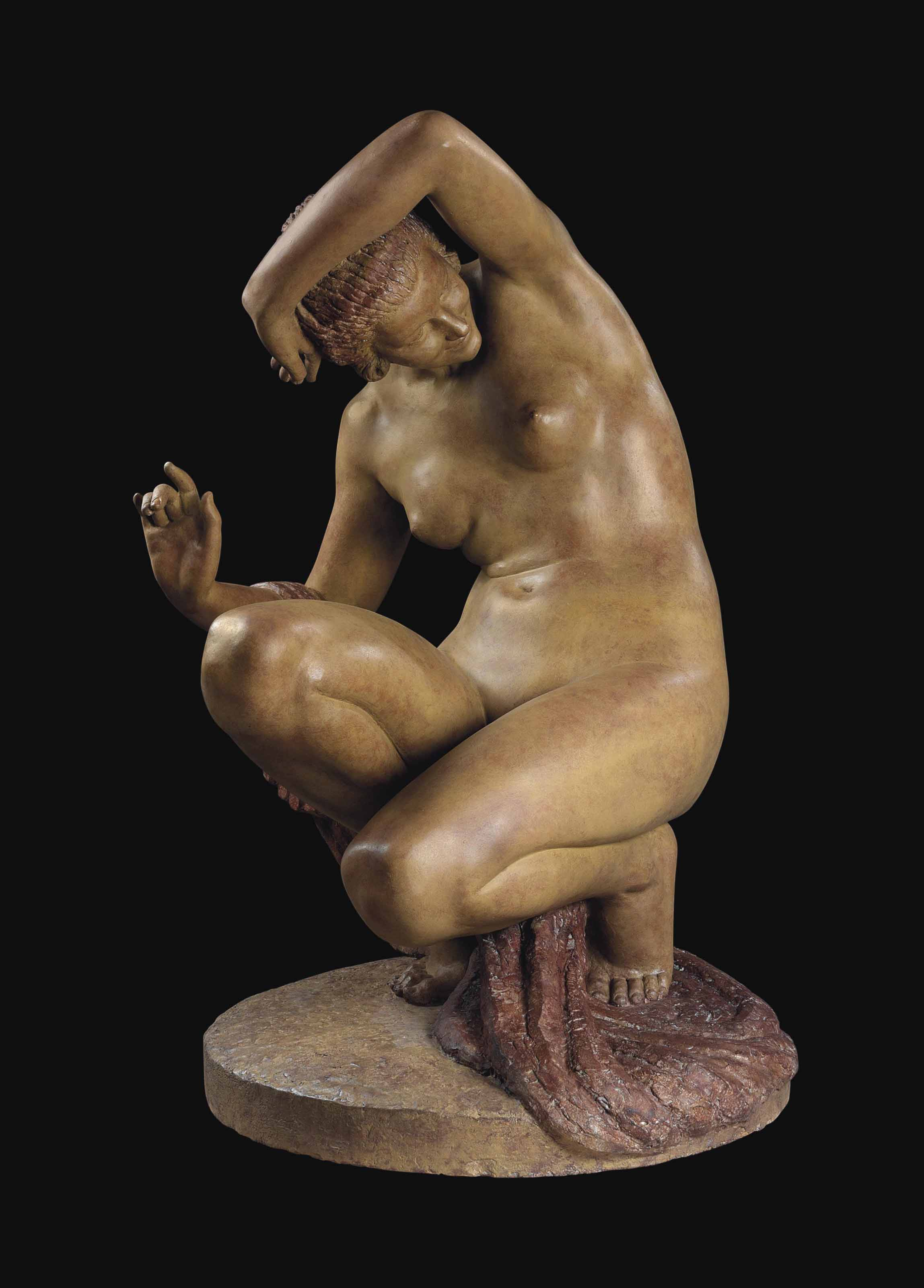 AN OVER LIFESIZE FRENCH TERRACOTTA FIGURE 'UNE BAIGNEUSE DRAPEE'