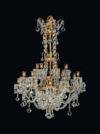 A FRENCH ORMOLU AND CRYSTAL TWENTY-LIGHT CHANDELIER