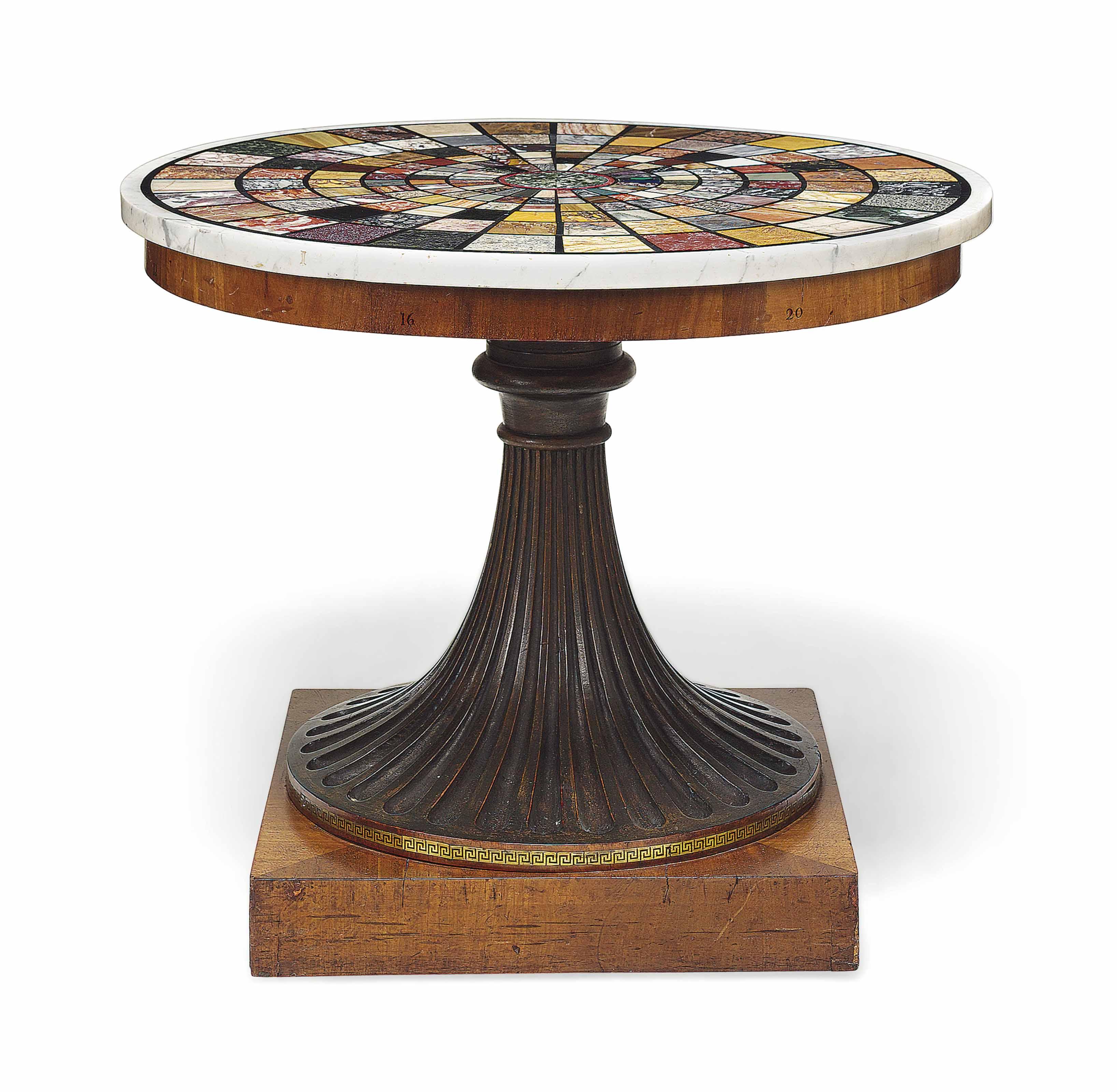 AN ITALIAN MAHOGANY, SPECIMEN MARBLE AND PIETRA DURA CENTRE TABLE