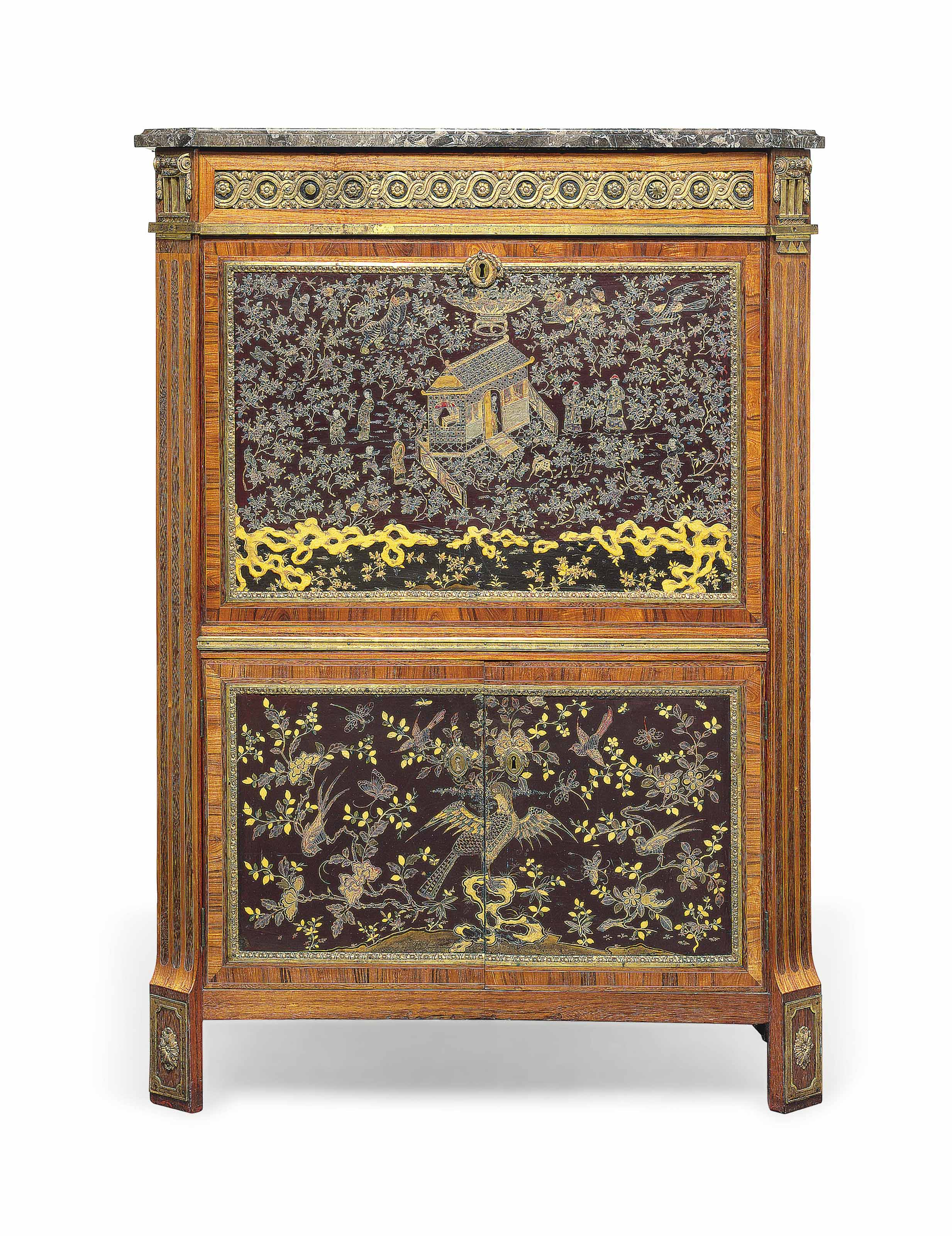 A LOUIS XVI ORMOLU-MOUNTED KINGWOOD, TULIPWOOD, AMARANTH, MOTHER-OF-PEARL INLAID CHINESE LACQUER AND JAPANNED SECRETAIRE A ABATTANT