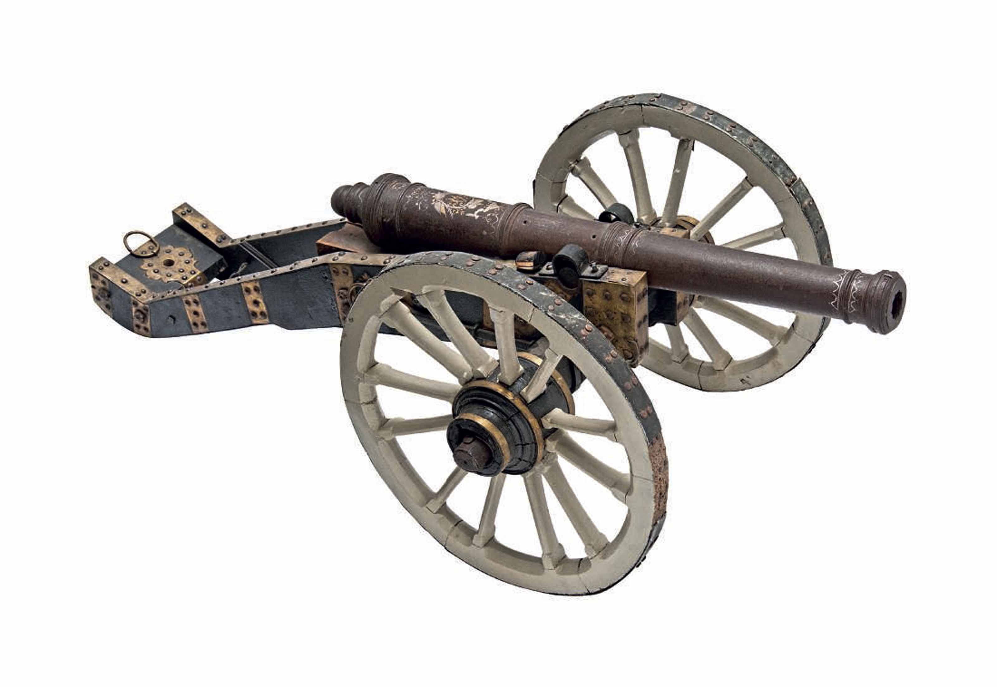 A VERY RARE GERMAN IRON RIFLED CANNON BEARING THE GOLD- AND SILVER-INLAID MONOGRAM OF HERZOG AUGUST WILHELM VON BRAUNSCHWEIG-WOLFENBÜTTEL-BEVERN