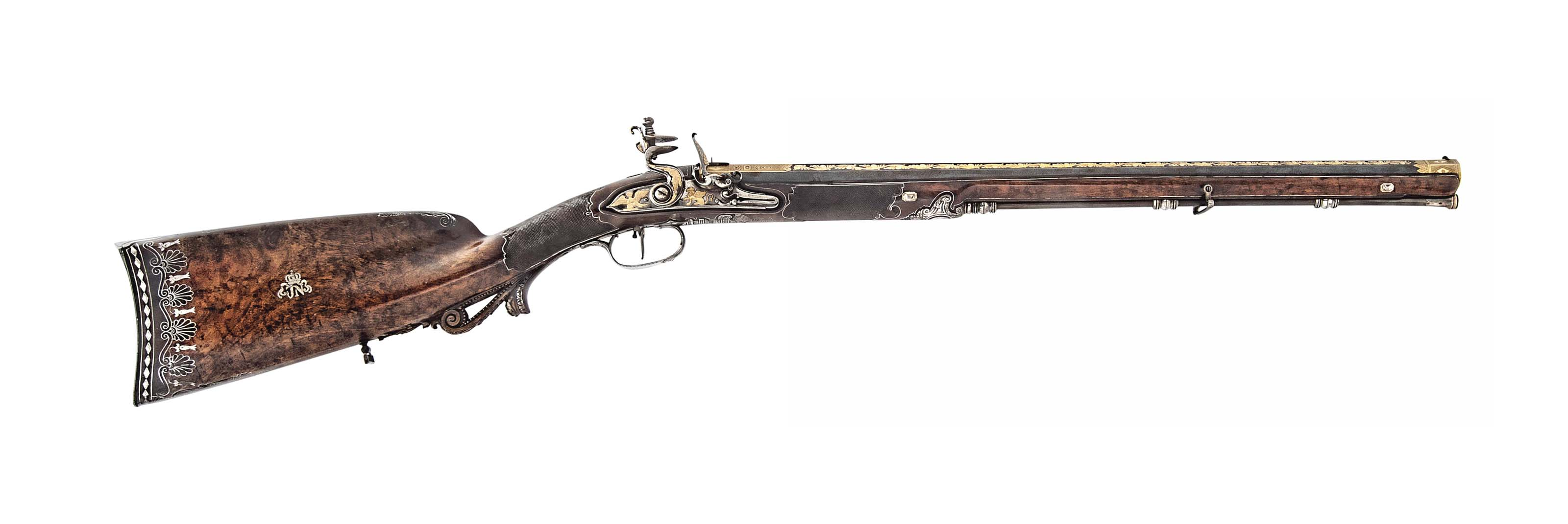 A MAGNIFICENT FRENCH FLINTLOCK SPORTING RIFLE BEARING THE MONOGRAM OF JEROME NAPOLEON, KING OF WESTPHALIA