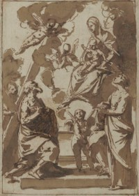 The Madonna and Child adored by Saint Andrew and a female saint