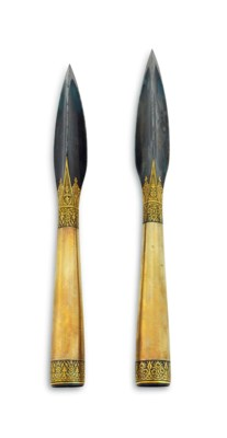 TWO GOLD-INLAID STEEL SPEARHEA