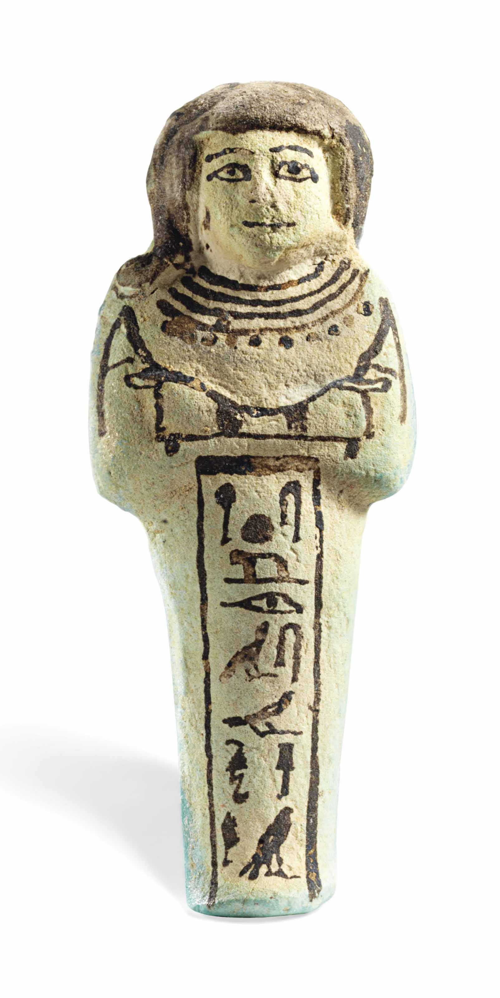 AN EGYPTIAN TURQUOISE FAIENCE SHABTI FOR THE HIGH PRIEST OF PTAH, HORI