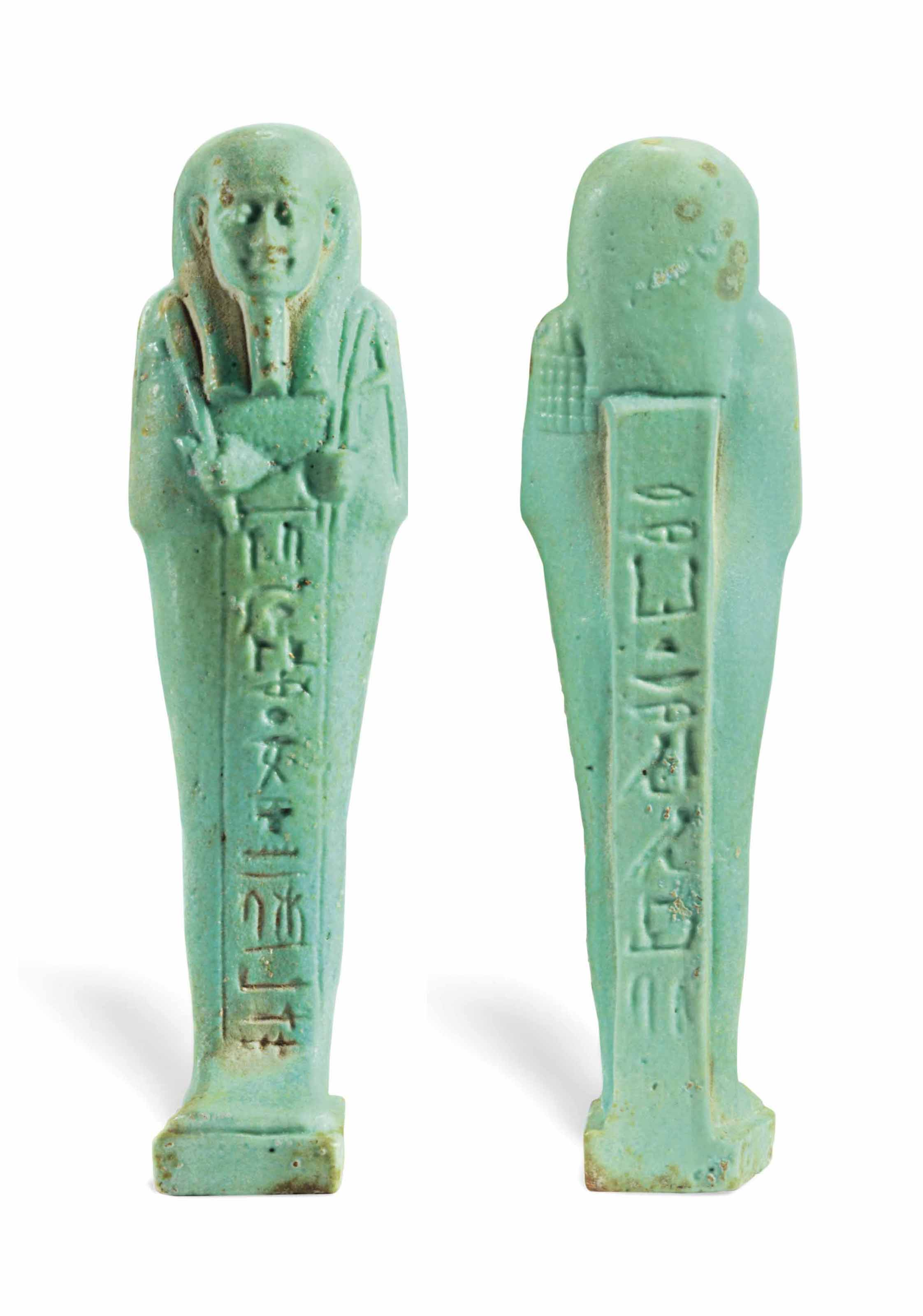 AN EGYPTIAN TURQUOISE FAIENCE SHABTI FOR WAIBREMEN