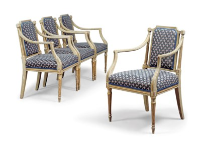 A SET OF FOUR GEORGE III GREY-