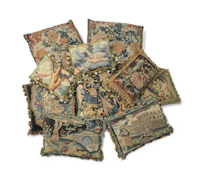 A GROUP OF TWELVE TAPESTRY AND