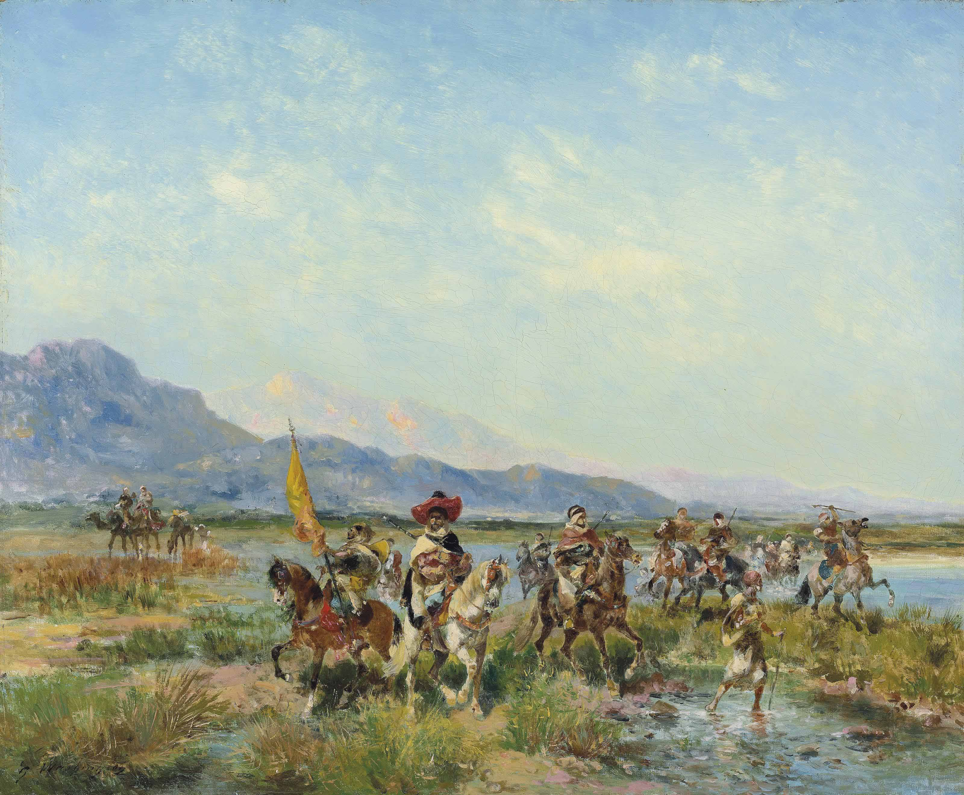 Cavaliers suivant l'Oued