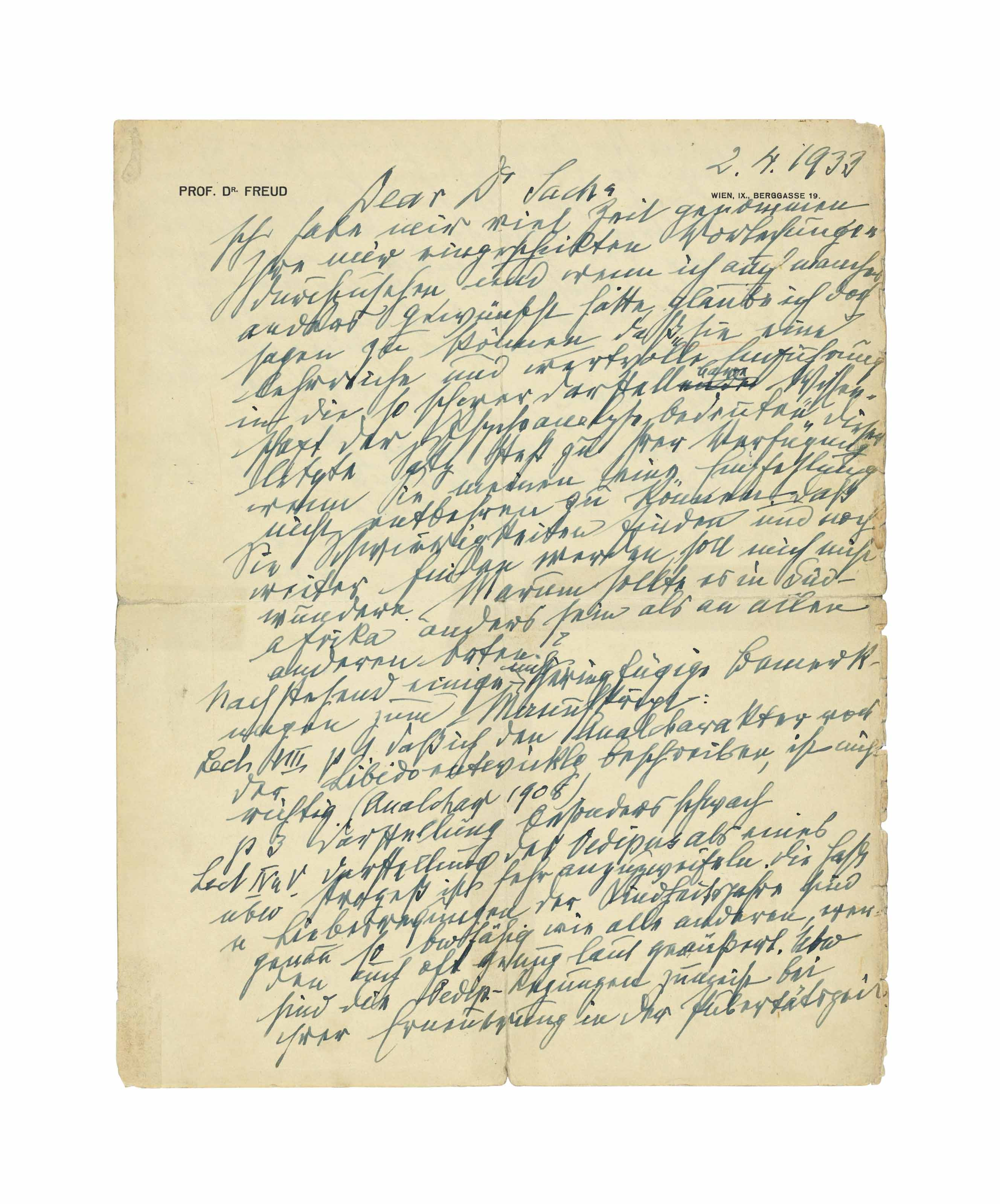 FREUD, Sigmund. Autograph letter signed ('Freud') to Dr [Wulf] Sachs, Berggasse 19, Vienna, 2 April 1933, 1½ pages, large 4to (287 x 228mm) (minor marginal soiling and wear, tape repairs to folds in blank portion of verso, touching one letter).