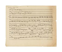 SCHUMANN, Robert (1810-1856). Autograph music manuscript, sketchleaf for three works for piano.