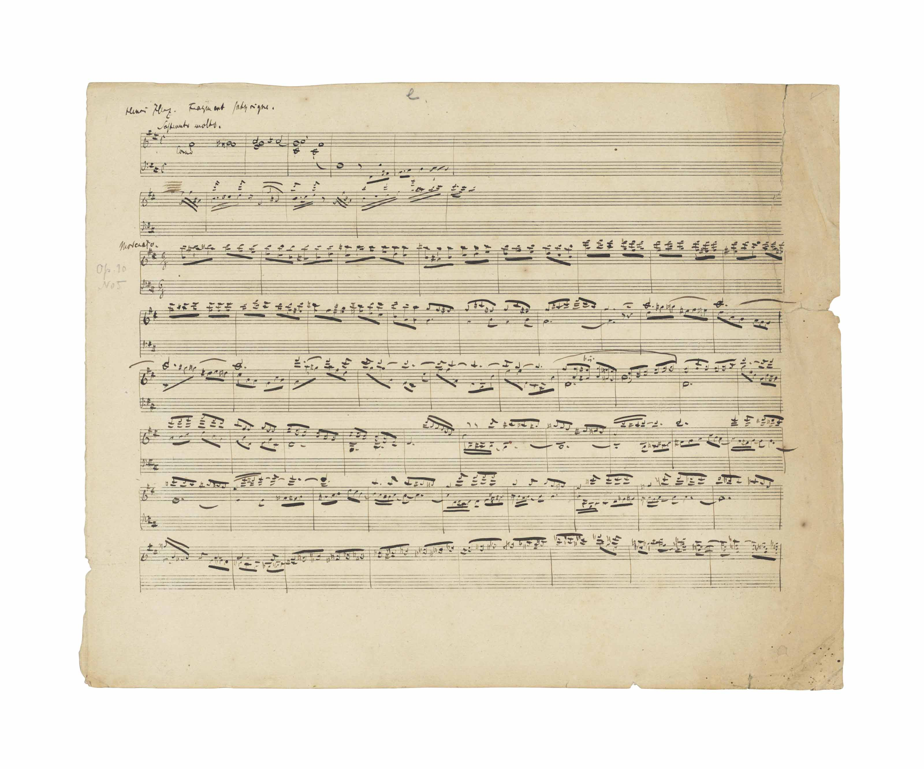 SCHUMANN, Robert (1810-1856). Autograph music manuscript, sketchleaf for three works for piano, comprising on the recto 9 bars, marked 'Sostenuto molto', for the Fantasie satyrique nach Henri Herz, here titled 'Henri Herz. Fragment satyrique' (McCorkle Anhang F18) and a substantial draft, comprising 54 bars, marked ''Moderato', for Op.10 no.5, the Konzert-Etüden nach Capricen von Paganini, and on the verso three passages, comprising 56 bars, the first section marked 'Allegro', for Op.5 no.11, the Impromptus über ein Thema von Clara Wieck, n.d. [early 1833], on 16-stave paper, 2 pages, oblong folio (267 x 335mm), (pencil annotations, minor spotting and browning, soiling and wear to right margin, more marked to upper corner, with two tears, 25mm and 55mm), window-mounted, framed and glazed. McCorkle Verkverzeichniss: op.5 source 1e; op.10 source 1c; Anhang F18, Autograph a. Provenance: L. von Vietinghoff-Scheel, Berlin – Gise