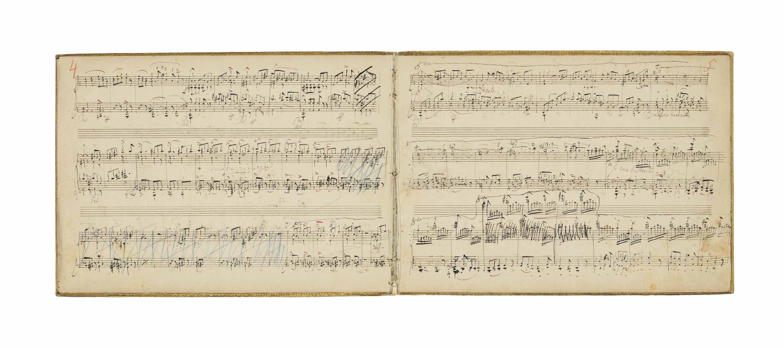 LISZT, Franz (1811-1886). Autograph music manuscript signed, 'Tarantella de Dargomiziki, transcrite et amplifée pour le Piano (à deux mains) par F. Liszt', in black ink, a number of passages erased and redrafted, dynamics, fingerings, tempos and other revisions in red ink and occasionally pencil, some markings (including pagination) in red and blue crayon, presumably by the printer, title (on an inserted leaf) and 12 pages, oblong folio (221 x 311mm), a lengthy autograph note signed on the last page for insertion in the first edition, 'NB à imprimer soit avant, soit sur la première page de ce morceau: / NB: La version originale de cette Tarantelle de Dargomiziki est écrite pour trois mains. L'une d'elles n'a d'autre emploi que de marquer perpétuellement, en tic-tac les deux notes …. sans interruption ni changement quelconque. Dans la transcription suivante, cette basse obstinée n'est pas accusée ostensiblement à chaque mesure, mais elle se trouve toujours sous entendue, m