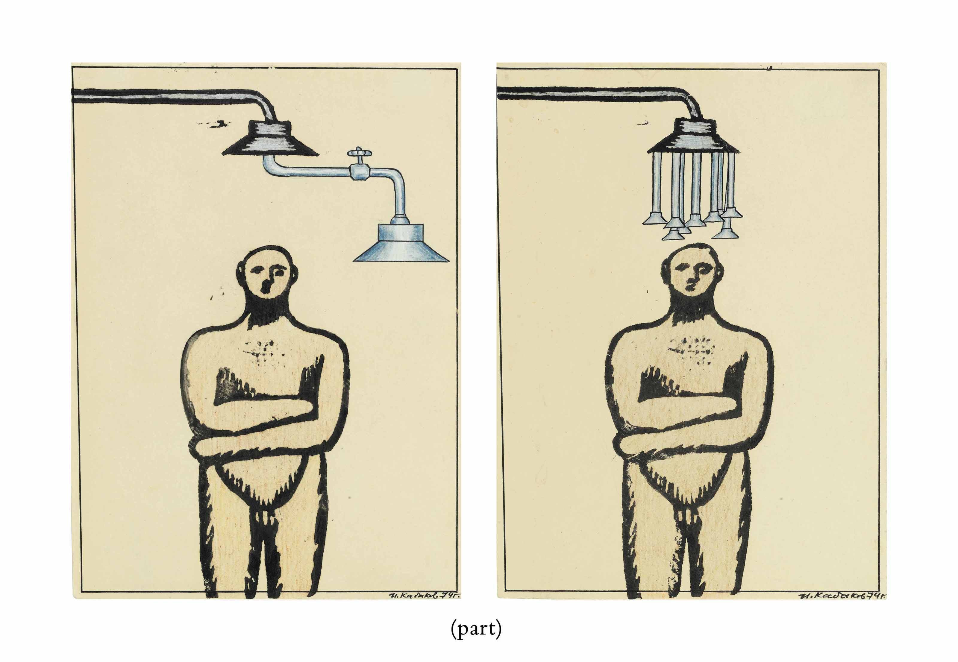 Two drawings from the Man under the shower series