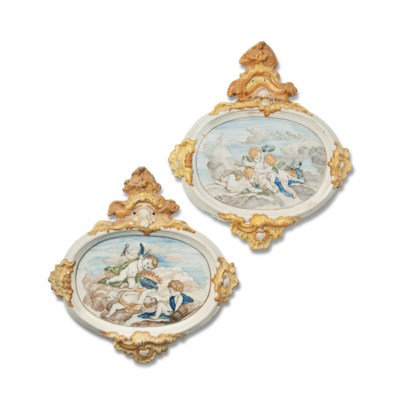 A PAIR OF ALCORA FAIENCE OVAL