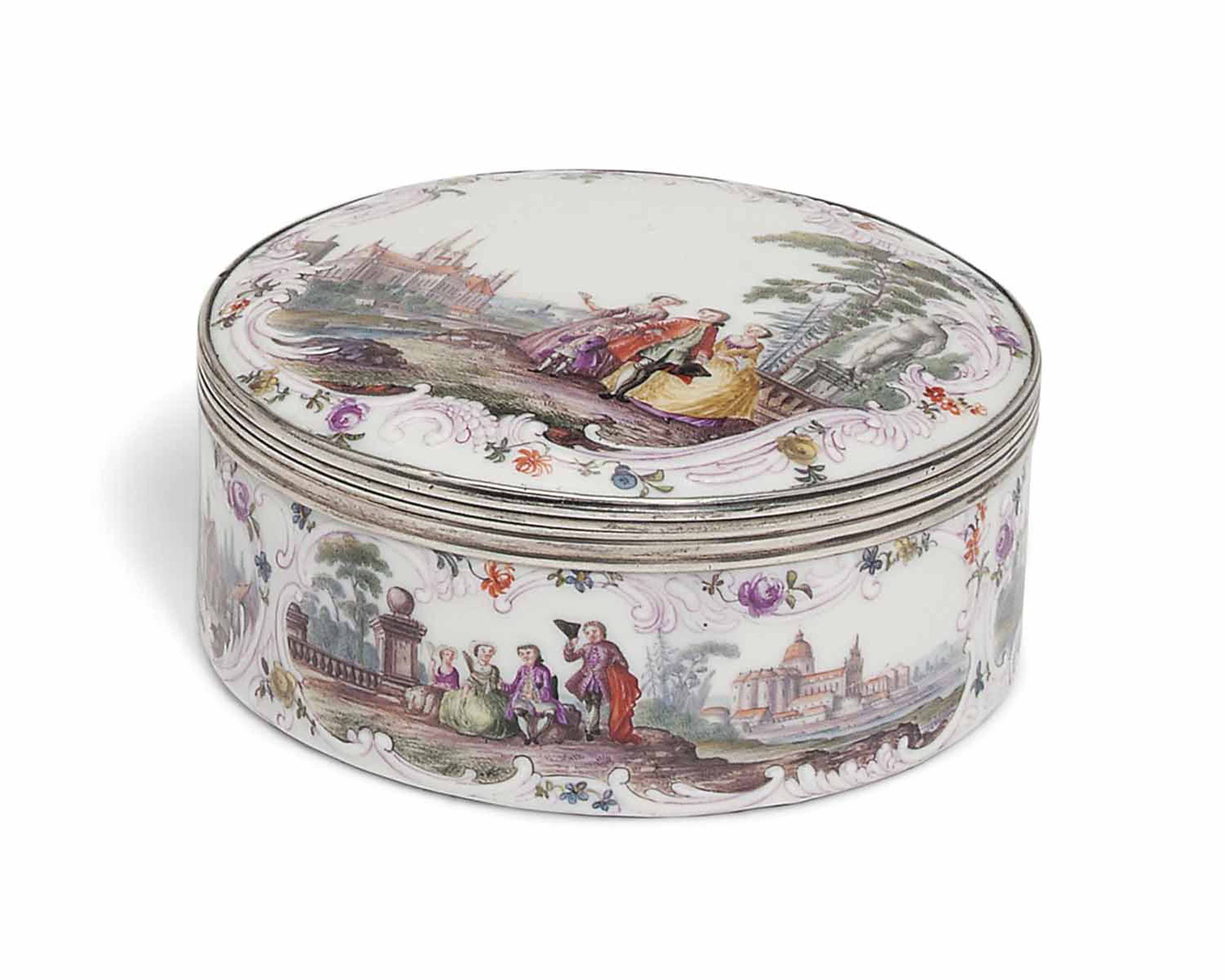 A MEISSEN SILVER-MOUNTED CIRCULAR SNUFF-BOX AND COVER
