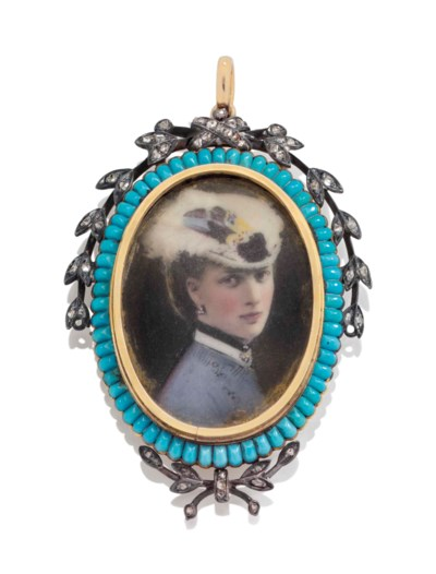 AN ENAMEL PORTRAIT MINIATURE O