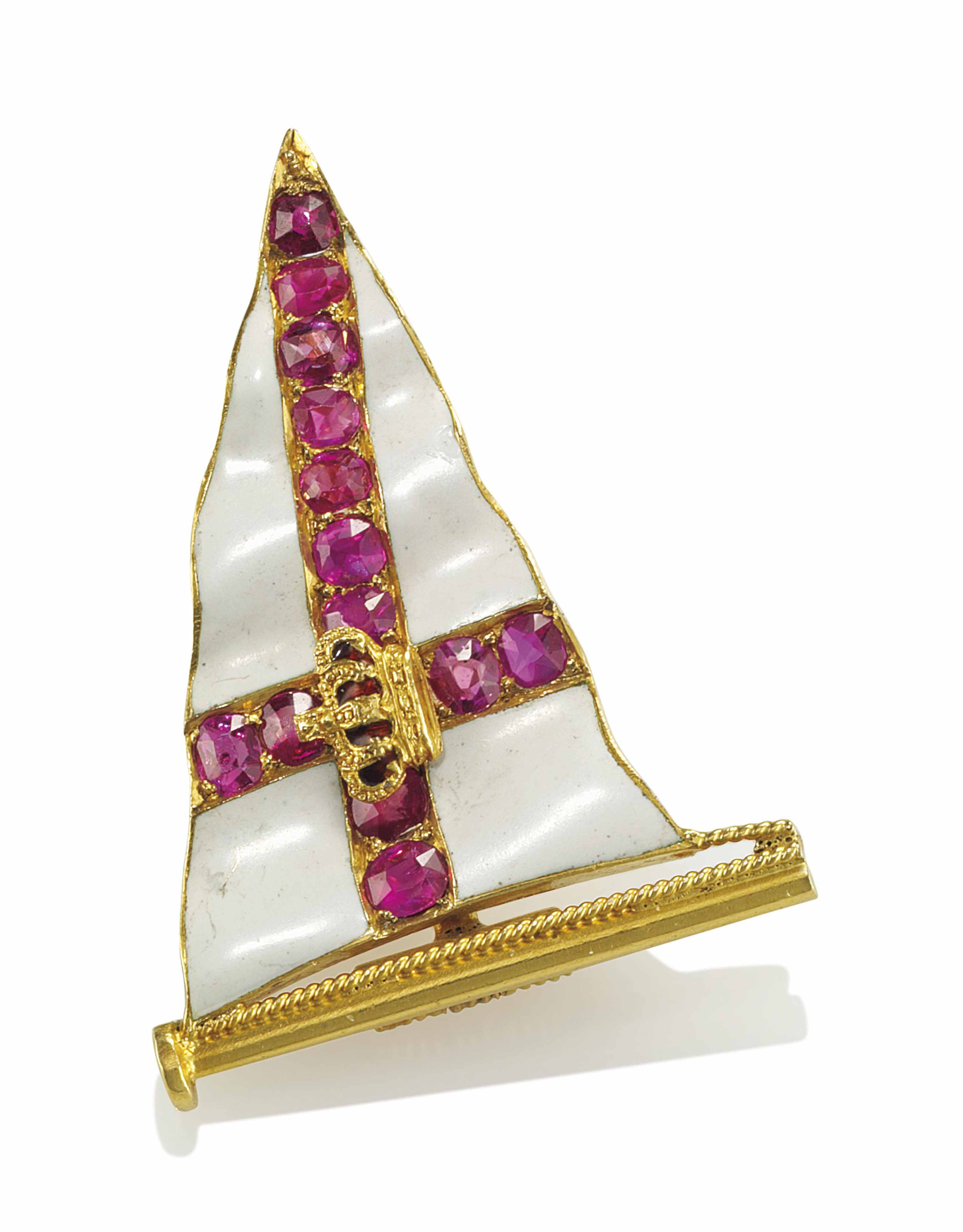 A GOLD, ENAMEL AND RUBY SET RO