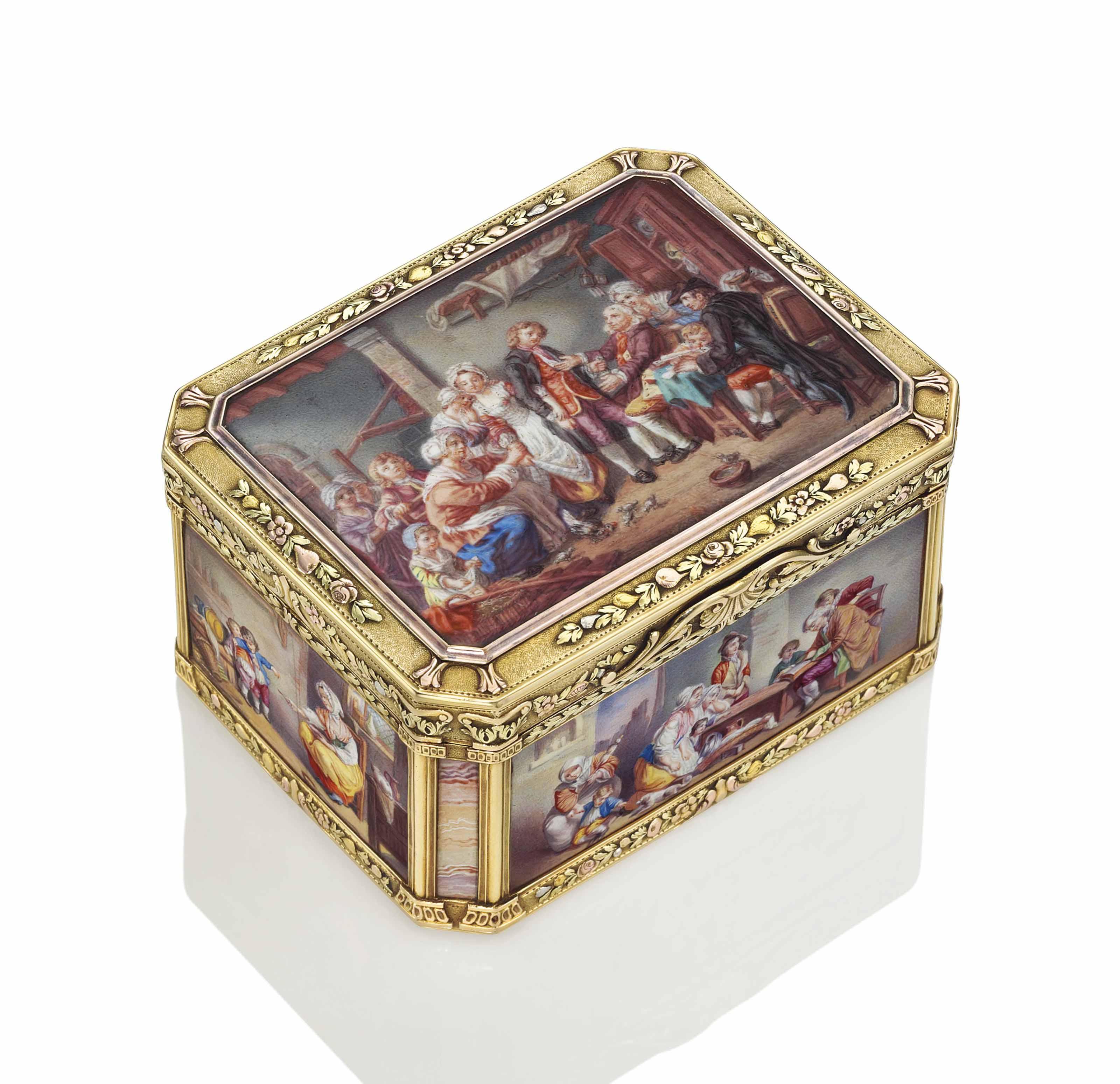 A GERMAN VARI-COLOUR GOLD TABL