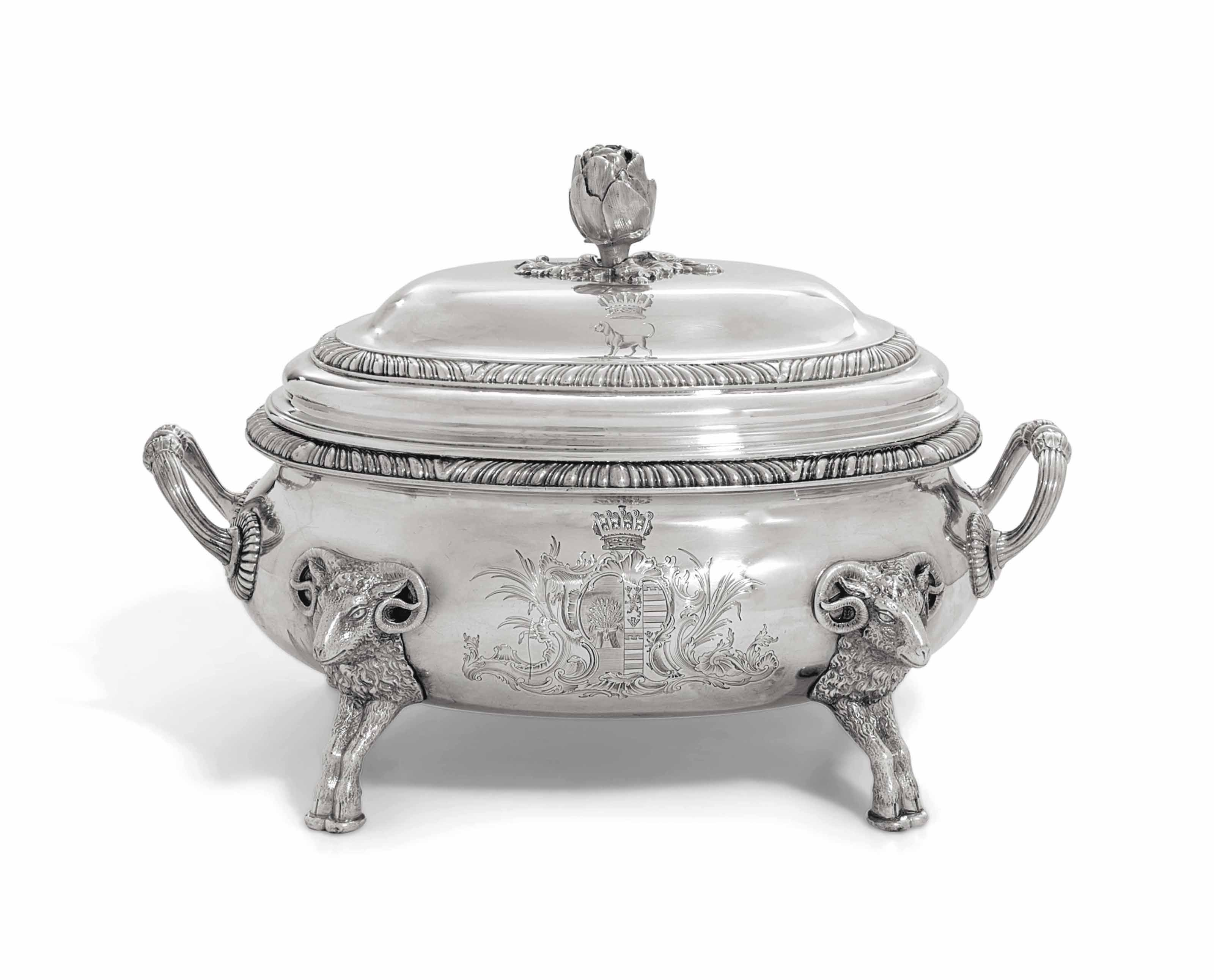 A GEORGE II SILVER SOUP-TUREEN AND COVER